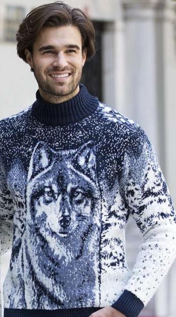 0ed87c7ca124f Купить мужской свитер с волком Pulltonic. Фото свитера, размеры ...